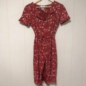 Vintage RED Floral floral dress